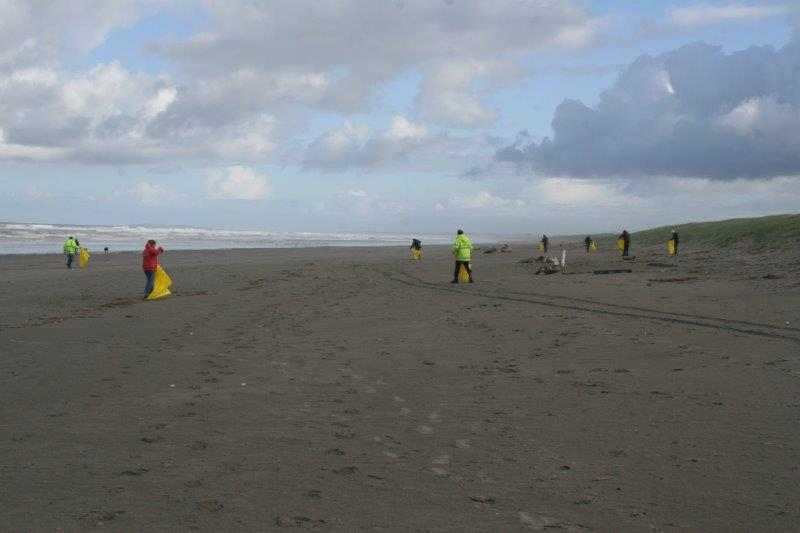 On the morning of the first day of the 2014 Spring Conference in Seaside, members volunteered to pick up beach litter on Gearhart Beach on the Oregon Coast.