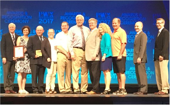 (From left) APWA National President Ron Calkins, Delora Kerber, Russ Thomas, Jenifer Willer, Doug Singer, Troy Bowers, Jeanne Nyqyist (Top 10 Leader), Paul Klope, Jeremy Provenzola, and Kyle McTeague