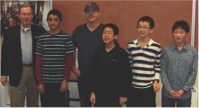 From Left to Right:  Steve  Anderson, President of Oregon MATHCOUNTS,; Matt Leungpathomaram, Catlin Gabel School; Manny Norse, Coach, Stoller Middle School; Ruper Li, Cedar Park Middle School; Eric Tong, Meadow Park Middle School; Asohok Kaushik, Access Academy